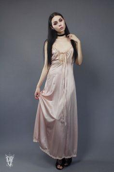 Sz S/M Vintage 90s/80s Dusty Pink Rose Lace Slip Dress by VespereVintage