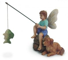 Marshall Home and Garden Miniature Fairy Garden Gone Fishin MG79 This boy fairy, with help from his dog, is busy fishing! Measures 3 3/4 inches high (to top of fishing pole) by 2 inches wide. Brand Ne
