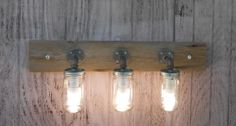 Mason Jar 3 Light Fixture Rustic Reclaimed Barn Wood Industrial Pipe Handcrafted | eBay