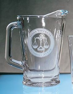 Personalized water pitcher for lawyers, paralegals, doctors, veterinarians, teachers, golfers, stock brokers, and real estate agents.  $45