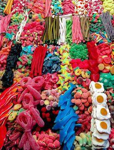 Colorful display of candy Mercado, Las Ramblas, Barcelona, Spain