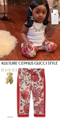 Offset & # s Daughter Kulture - Gucci Baby Girls Mini Me trousers with pink flower pr. Offset & # s Daughter Kulture – Gucci Baby Girls Mini Me trousers with pink flower print, Celebrity Baby Pictures, Celebrity Baby Names, Celebrity Babies, Toddler Girl Outfits, Boy Outfits, Gucci Baby, Gucci Kids, Cute Swag Outfits, Baby Quotes