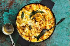 How does one make cauliflower cheese better? By turning it into a pasta bake of course. Dreamy, cheesy and topped with crispy sage Cauliflower Cheese, Baked Pumpkin, Pumpkin Recipes, Sage Recipes, Lemon Recipes, Pasta Recipes, Dinner Recipes, Vegetarian Bake, Vegetarian Recipes