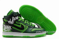 Custom Nike Dunks High Shoes Do The Dew Green Label Art Event