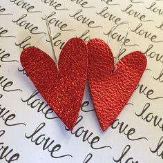 Heart earrings large red heart earrings Valentine earrings