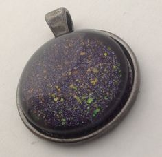 Deep Purple Rainbow Flakies Polish Pendant Necklace