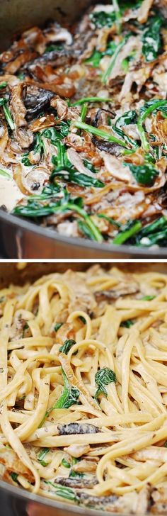 Creamy mushroom pasta with caramelized onions and spinach - @juliasalbum