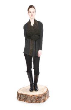 Jennifer Fukushima - grey, brown felted recycled wool cardigan