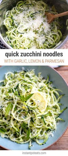 Gluten free - Low carb - Vegetarian friendly - Zucchini Noodles With Garlic, Lemon, Mint & Parmesan - easily made using the Instant Pot or on the stove. This dish is gluten-free, low-carb and vegetarian friendly. Low Carb Recipes, Diet Recipes, Vegetarian Recipes, Cooking Recipes, Healthy Recipes, Veggie Recipes For Weight Loss, Keto Veggie Recipes, Vegetarian Tapas, Veggies