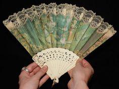 Vintage Victorian Edwardian french ivory hand printed folk art fan signed by artist. $45.00, via Etsy.
