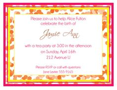 Baby Shower Invitation Orange Confetti  by DontPanicDesign on Etsy, $12.00