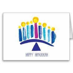 Hanukkah card with watercolor menorah |  by Sara Berrenson | On Sale at Zazzle