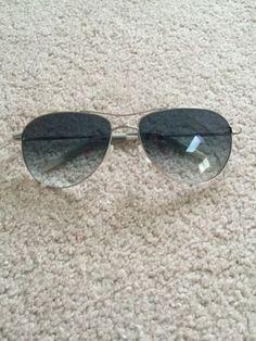Oliver Peoples BENEDICT Photochromic Sunglasses Aviator Silver Frames Blue Lens
