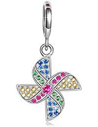 Ninaqueen 925 Sterling Silver Windmill Multicolor Cubic Zirconia Dangle Charms Fit Pandora Bracelet  ASIN: B00X146Q6E MODEL# CSG05323BB