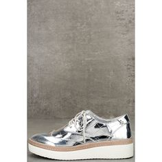 Steven by Steve Madden Pharo Silver Patent Platform Sneakers ($99) ❤ liked on Polyvore featuring shoes, sneakers, silver, white lace up sneakers, white trainers, white platform shoes, platform shoes and beige sneakers