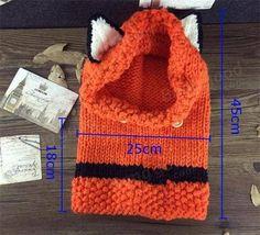 883c562457d Оранжевые девочки мальчик младенца шапочку лиса крышка зимы теплые скейт  лыжи шерсть вязание капюшоном шарф мыс Earflap вязаная шапка