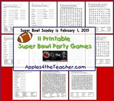 Printable Super Bowl party games. How much do you know about the National Football Conference (NFC) and American Football Conference (AFC)? Test your friends and family! http://www.apples4theteacher.com/holidays/super-bowl-sunday/