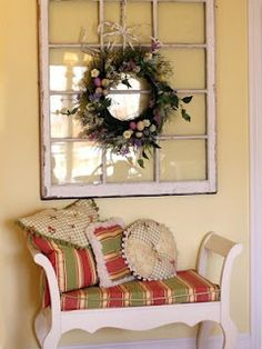 Really cute idea. Just need an old bench with some colorful pillows, an old/vintage window and a cute wreath to add the final touch. Wish I had a front porch big enough to do this.