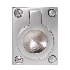 Rectangular Flush Ring Pull - 50 x 38mm - Satin Chrome | Ironmongery Direct