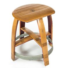 The Zin Bar Stool utilizes the tops of the wine barrel, the barrel straps and wine staves to create a unique and comfortable sitting arrangement. Wine Barrel Bar Stools, Wine Barrels, Sitting Arrangement, Wine Barrel Furniture, Barrel Projects, French Oak, Foot Rest, Furniture Making, The Originals