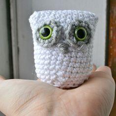 little white amigurumi owl