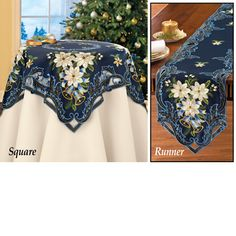Navy Holiday Bells Table Linens