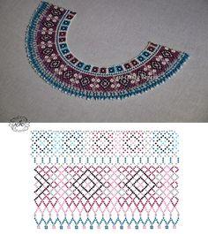 Tina's handicraft : necklace with beads - 9 designs & patterns Diy Necklace Patterns, Jewelry Patterns, Beading Patterns, Beading Projects, Beading Tutorials, Beaded Collar, Ribbon Design, Loom Beading, Bead Weaving