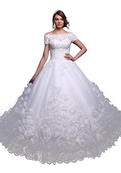 Fancode Women's Beaded Applique Wedding Dress With Flowers Fancode http://www.amazon.com/dp/B01CTVOXO6/ref=cm_sw_r_pi_dp_hHk7wb0VJ86N9