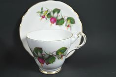 Vintage Tea Cup and Saucer Pink and Green in Porcelain Tea Set from England  #vintage