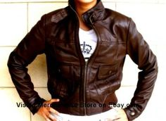 NWT Women's Bomber Style Leather Jacket Style 2100DB $80