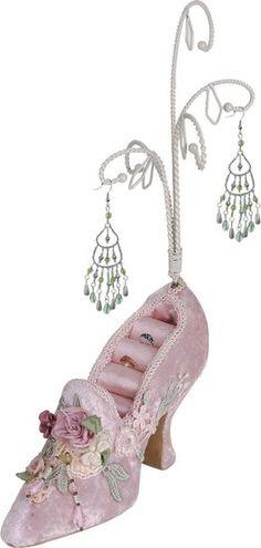Victorian Shoe jewlery organizer in Pink-jewelry holder,stand,organizer,bedroom decor,boudoir accessories,ring holder