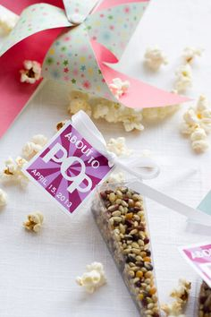 Unique Party Favors - gourmet popcorn - guest gift, edible party favors - thank you gift for baby showers, bridal showers, weddings. $2.95, via Etsy.