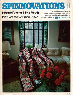 Spinnovations Home Decor Idea Book Knit Crochet Patterns Afghan Tablecloth 1975 #Spinnerin