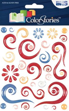 Colorstories Red Story Epoxy Swirl Stickers (Set of 3)