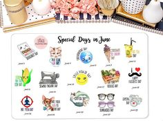 Special Days in June Celebrate Stickers Erin Condren by StiandCo Agenda Planner, Happy Planner, Planner Organization, Organizing, Daily Holidays, Calendar Stickers, Calendar Date, National Days, Plum Paper