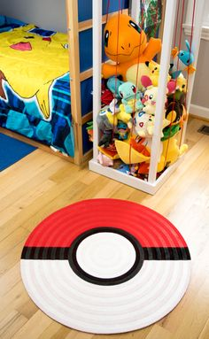This pokeball rug is the perfect addition to a Pokemon themed bedroom! Full tutorial on how to make your own for the Pokemon trainer in your life. Boys Bedroom Decor, Bedroom Themes, Girls Bedroom, Bedroom Designs, Kid Bedrooms, Pokemon Decor, Pokemon Room, Boy Room, Kids Room