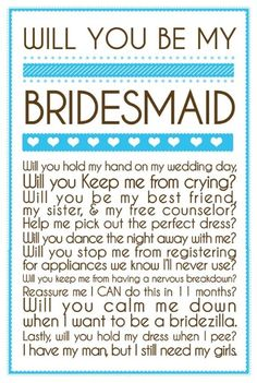 Great way to ask your bridesmaids