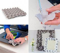 DIY Egg Cartons Decorative Mirror creative ideas