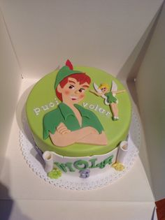 Peter Pan and Tinker Bell cake Harry Birthday, 5th Birthday Cake, Peter Pan And Tinkerbell, Peter Pan Disney, Peter Pan Cakes, Cute Birthday Ideas, Peter Pan Party, Cupcake Cakes, Cupcakes