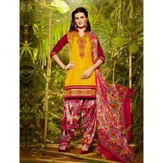 Yellow and Red Cotton #Party Wear Patiyala Kameez- $28.97