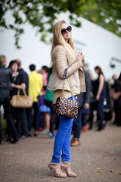Electric blue skinny jeans