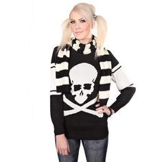 Cute skull knit sweater. Perfect for spring! Go and check it out! http://www.cybershop.fi/product/10735/paakalloneule