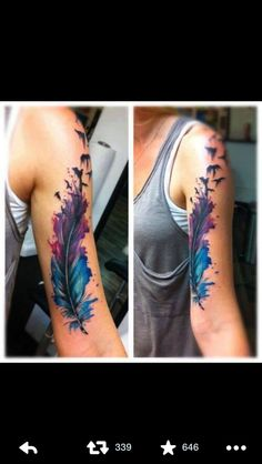 Cute feather and bird tattoo