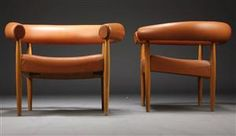 Nanna Ditzel. Pair of easy chairs, Ring chair, oak (2)