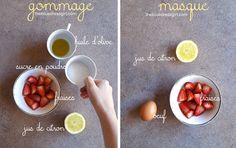 Gommage et masque à la fraise pour peau terne.