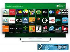 """Smart TV LED 3D 50"""" Sony KDL-50W805B - Full HD 1080p Conversor Wi-fi 4 HDMI 2 Óculos 3D"""