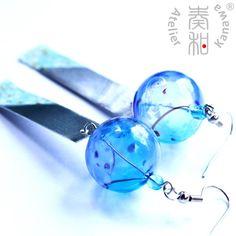 Wind of Summer - Large Edo Furin Style Wind Chime Earrings with Sakura Tanzaku