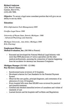 Here Is The Free Example Of Legal Nurse Consultant Resume, You Can Preview  It Here