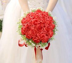 Handmade PE White Rose Flower Silk Ribbon Bridal Wedding Floral Bouquets #Unbranded