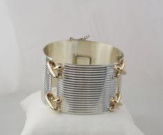 Very Wide Trending Sterling Silver Bracelet with X Connecting Links